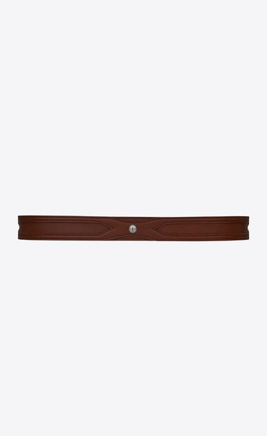 SAINT LAURENT Classic Belts Man Folk double-loop belt in dark brown leather b_V4
