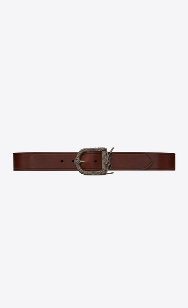 SAINT LAURENT Cinture Classiche Uomo Monogram Celtic belt in dark brown leather a_V4