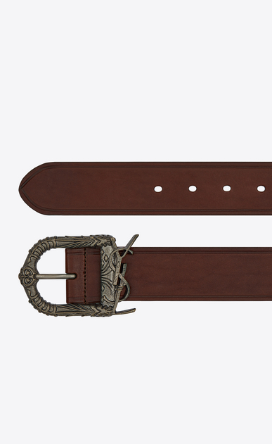 SAINT LAURENT Cinture Classiche Uomo Monogram Celtic belt in dark brown leather b_V4