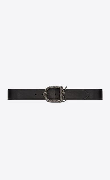 SAINT LAURENT Cinture Classiche Uomo Monogram Celtic belt in vintage black leather a_V4