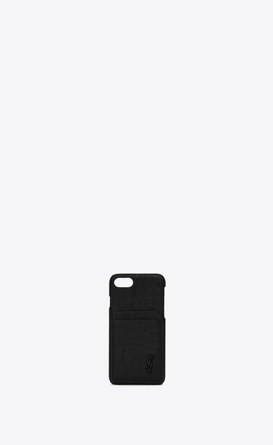 SAINT LAURENT Monogram SLG Man iPhone 8 Monogram case in crocodile embossed leather a_V4