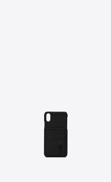 SAINT LAURENT Monogram SLG Man iPhone 10 Monogram case in crocodile embossed leather a_V4
