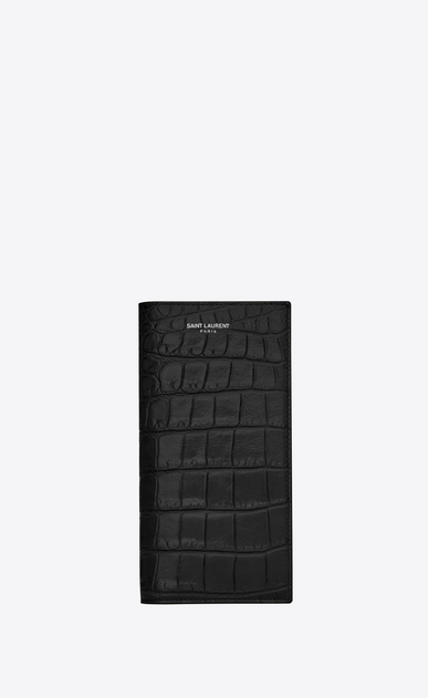 SAINT LAURENT Saint Laurent Paris SLG Man continental wallet in stamped crocodile leather a_V4