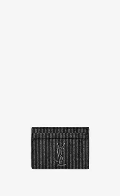 Monogram card case in glitter striped patent leather