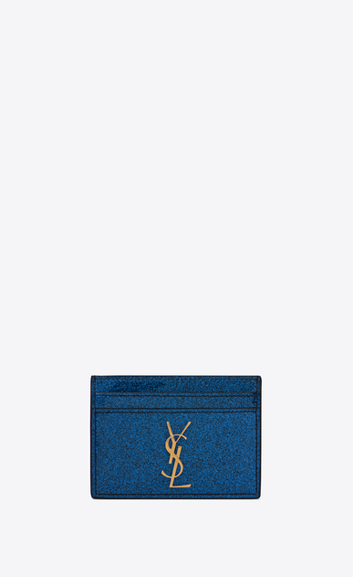 Monogram card case in glitter patent leather
