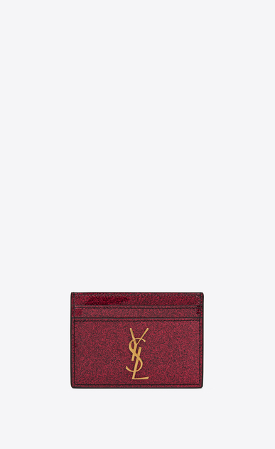 SAINT LAURENT Monogram SLG Woman Monogram card case in glitter patent leather a_V4