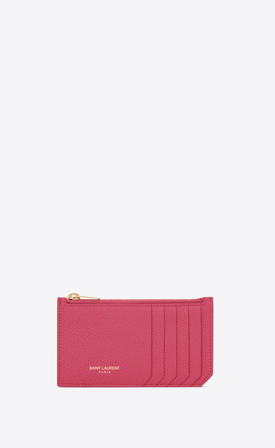 SAINT LAURENT Saint Laurent Paris SLG Woman fragment zipped card case in grained leather a_V4