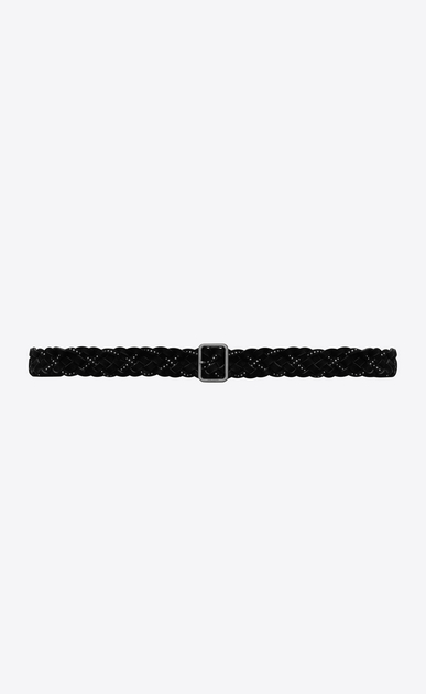 SAINT LAURENT Medium Belt Woman HUBLOT braided, studded buckle belt in black suede a_V4