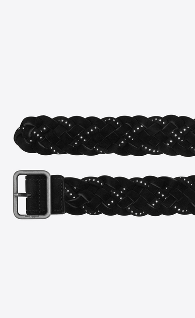 SAINT LAURENT Medium Belt Woman HUBLOT braided, studded buckle belt in black suede b_V4