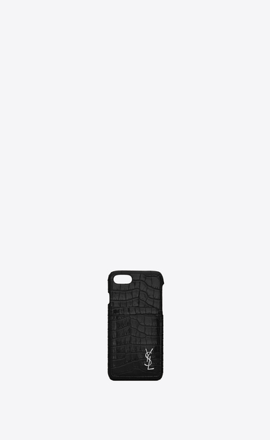 SAINT LAURENT Monogram SLG Woman Monogram iphone 8 case in crocodile embossed shiny leather a_V4
