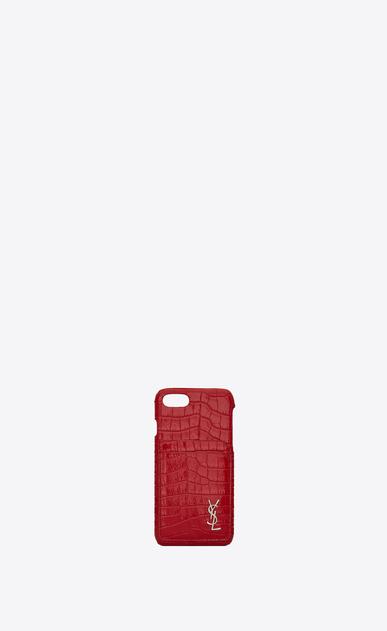 Etui für iPhone 8 aus rotem Glanzleder mit Krokodillederprägung