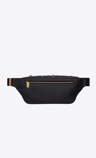SAINT LAURENT Belt Bags Woman CLASSIC monogram belt bag in black leather with crystals and gold-tone metal hardware b_V4