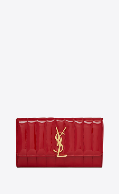 SAINT LAURENT Vicky SLG Woman Vicky large flap wallet in matelassé patent leather a_V4