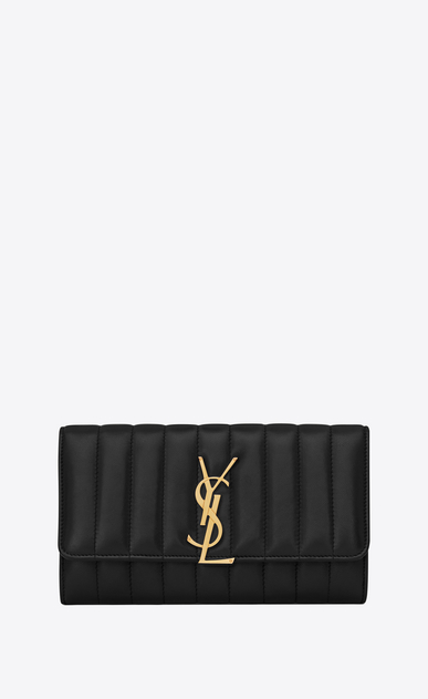 SAINT LAURENT Vicky SLG Woman Vicky large flap wallet in matelassé lambskin a_V4