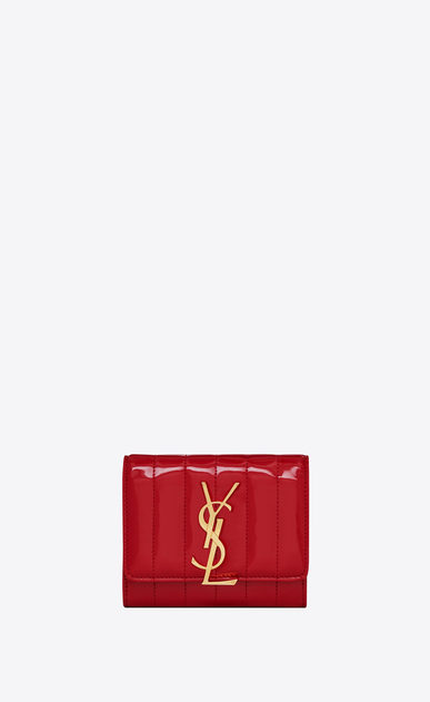 SAINT LAURENT Vicky SLG Woman Vicky compact tri-fold wallet in matelassé patent leather a_V4
