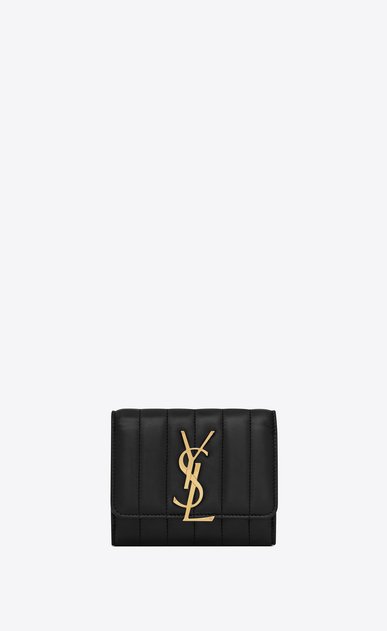 SAINT LAURENT Vicky SLG Woman Vicky compact tri-fold wallet in matelassé lambskin a_V4