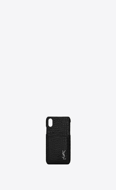 Etui für iPhone 10 aus schwarzem Glanzleder mit Krokodillederprägung