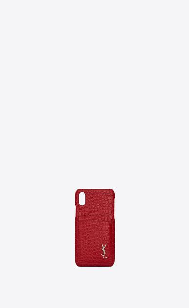 Etui für iPhone 10 aus rotem Glanzleder mit Krokodillederprägung