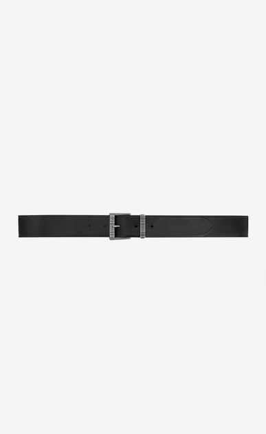 SAINT LAURENT Medium Belt Man Passant textured buckle belt in smooth leather a_V4