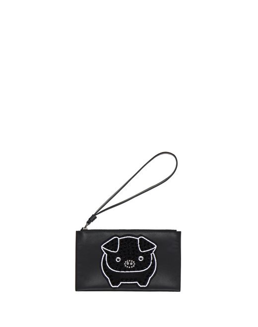 SMALL BLACK EMBROIDERED CLUTCH - Lanvin