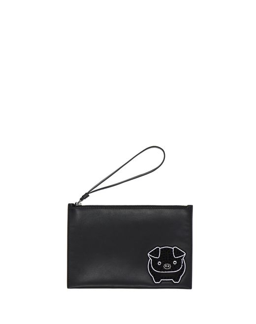 MEDIUM BLACK EMBROIDERED CLUTCH - Lanvin