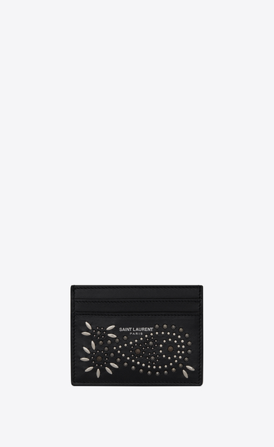Card holder in vintage leather and studs