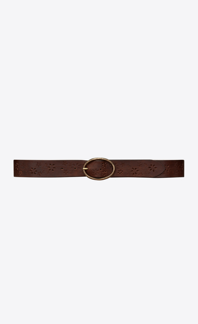 Belt with oval buckle in perforated raw leather