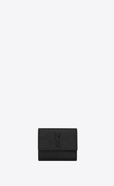 Monogram tiny wallet in crocodile embossed leather