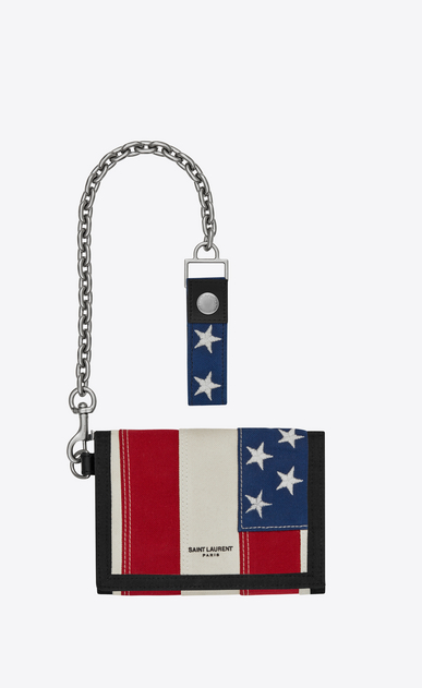 Buffalo chain wallet in American flag canvas