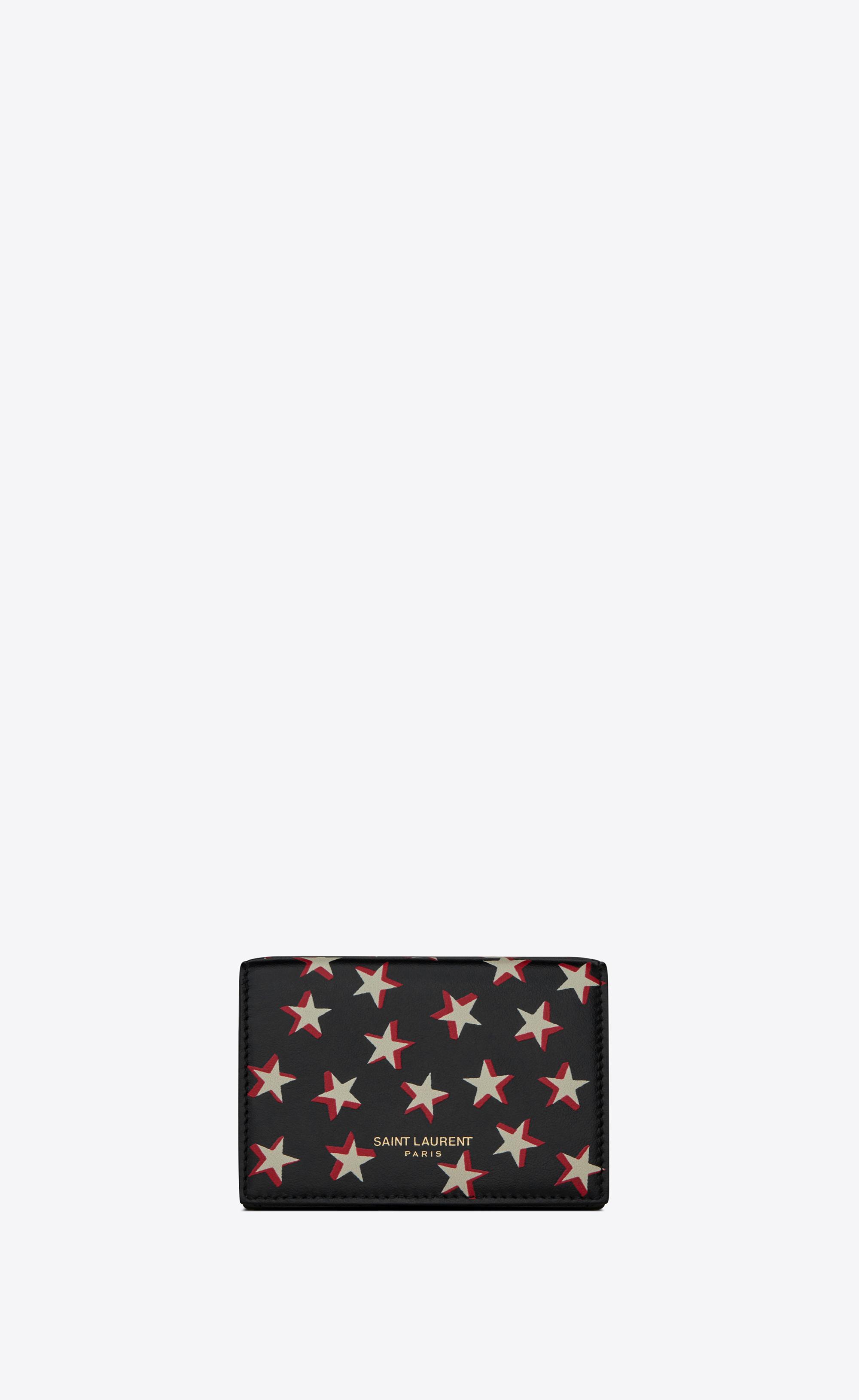 85eba4e150e SAINT LAURENT   Slp Animation Tiny Wallet In Star Print Leather Black  Onesize   Goxip