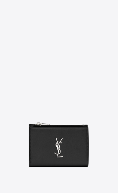 Zippered monogram fragments clutch in smooth leather