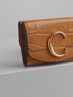 Portafoglio tri-fold mini Chloé C