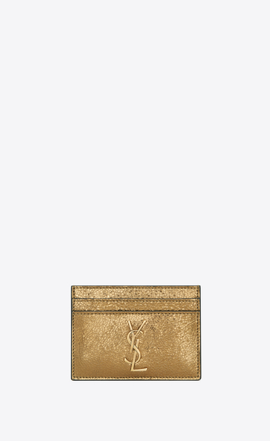 MONOGRAM card case in metallic quilted leather