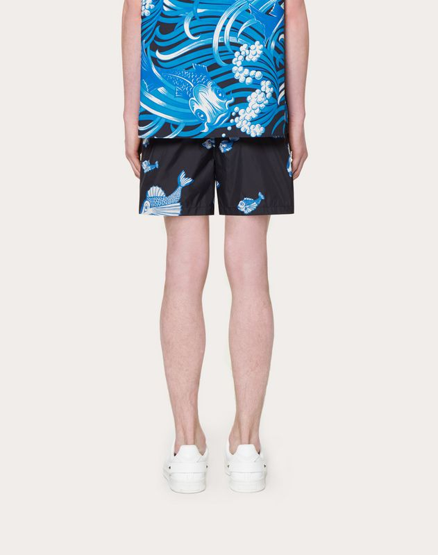 FISHRAIN PRINT SWIMMING SHORTS