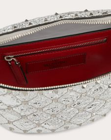 Rockstud Spike Metallic Nappa Leather Belt Bag