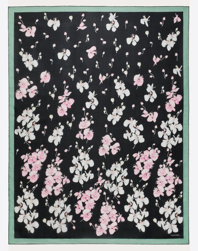 Silk Shawl with Orchid Print  140x180 cm / 55 x 70 in