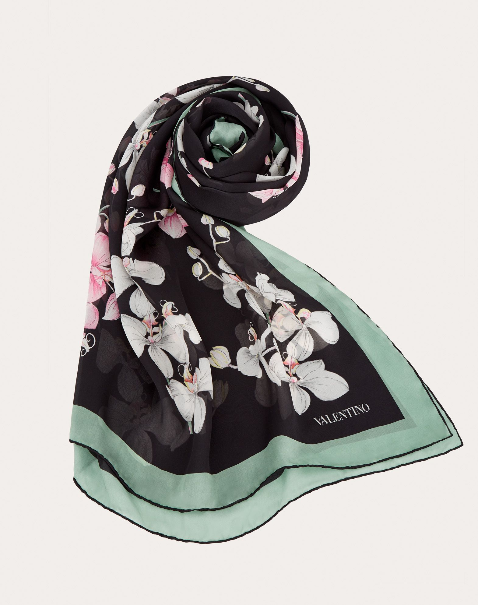 Silk Shawl with Orchid Print 140x180 cm