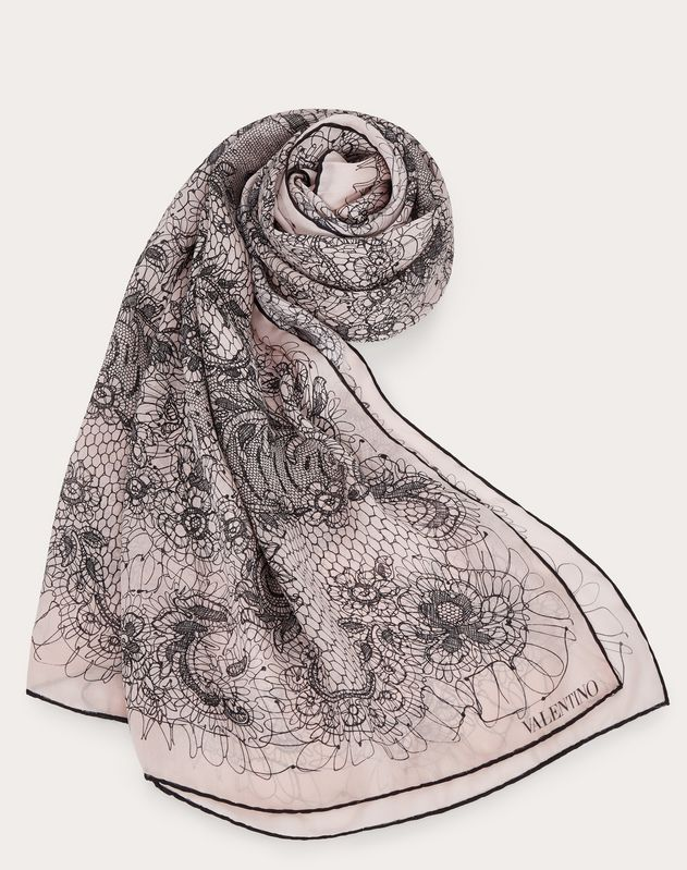 Silk shawl with orchid flower print 140x180 cm / 55x70 in