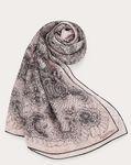 Silk shawl with orchid flower print 140x180 cm
