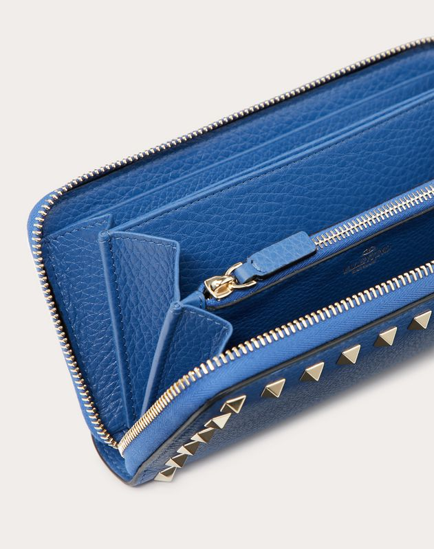 Rockstud Grainy Calfskin Zippered Wallet