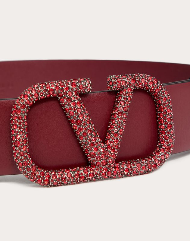 REVERSIBLE VLOGO BELT IN GLOSSY CALFSKIN