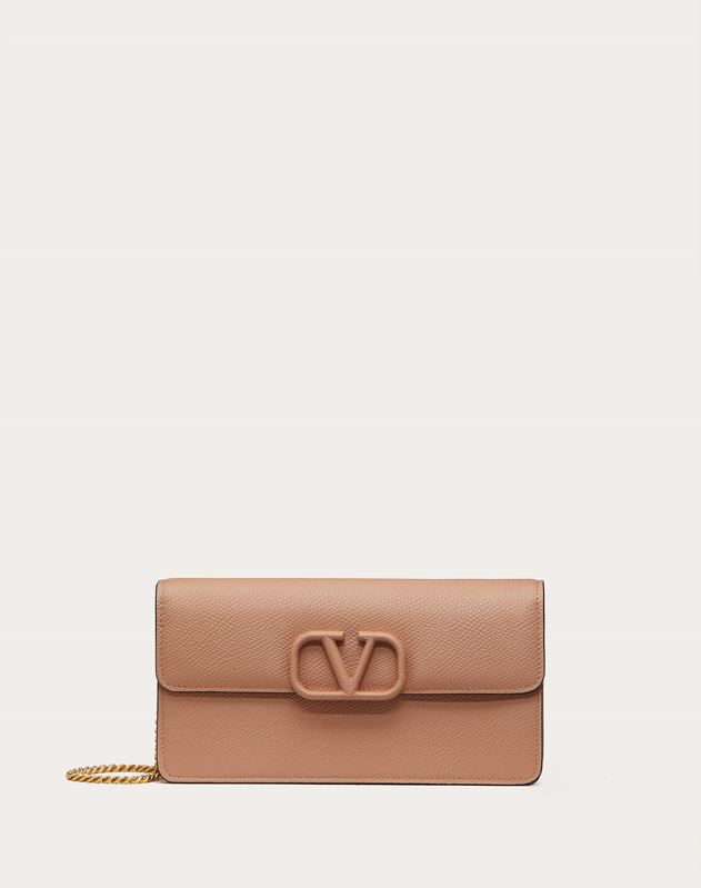 VSLING GRAINY CALFSKIN PURSE WITH CHAIN STRAP