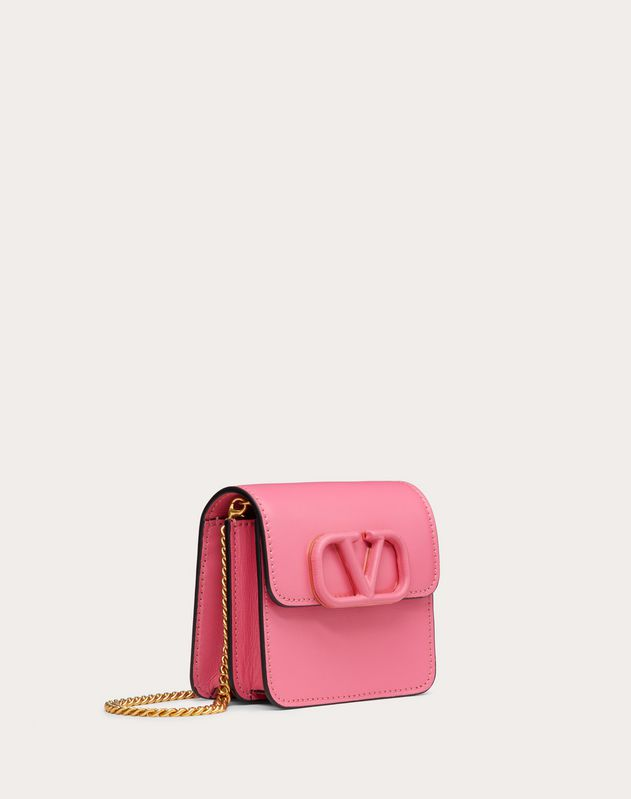 VSLING GLOSSY CALFSKIN PURSE WITH CHAIN STRAP