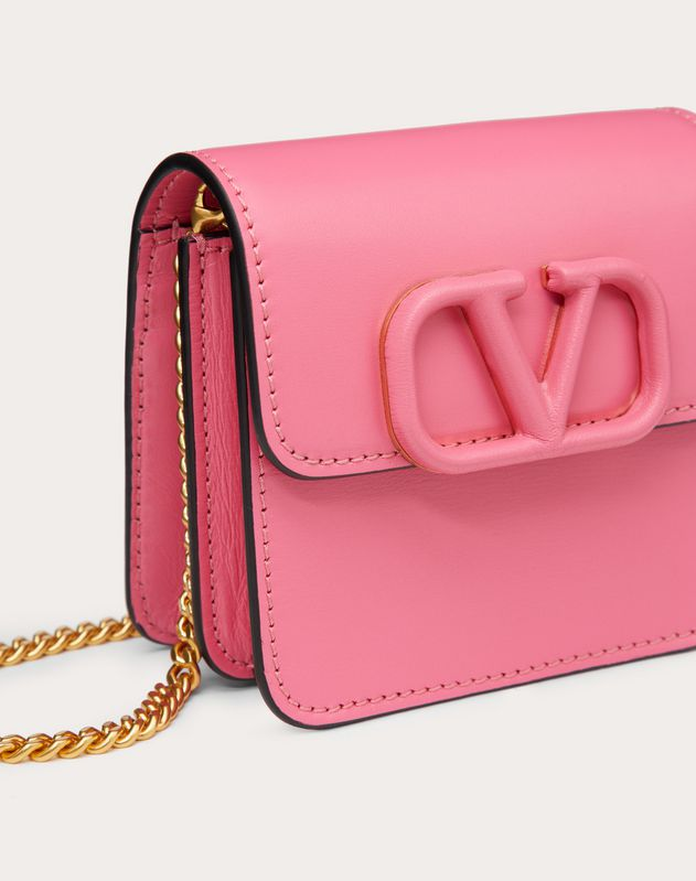 COMPACT VSLING GLOSSY CALFSKIN WALLET WITH CHAIN STRAP