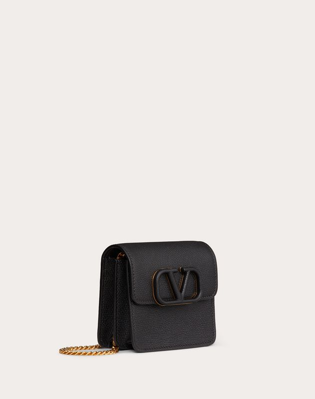 COMPACT VSLING GRAINY CALFSKIN WALLET WITH CHAIN STRAP