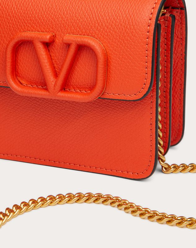 VSLING GRAINY CALFSKIN WALLET WITH CHAIN STRAP