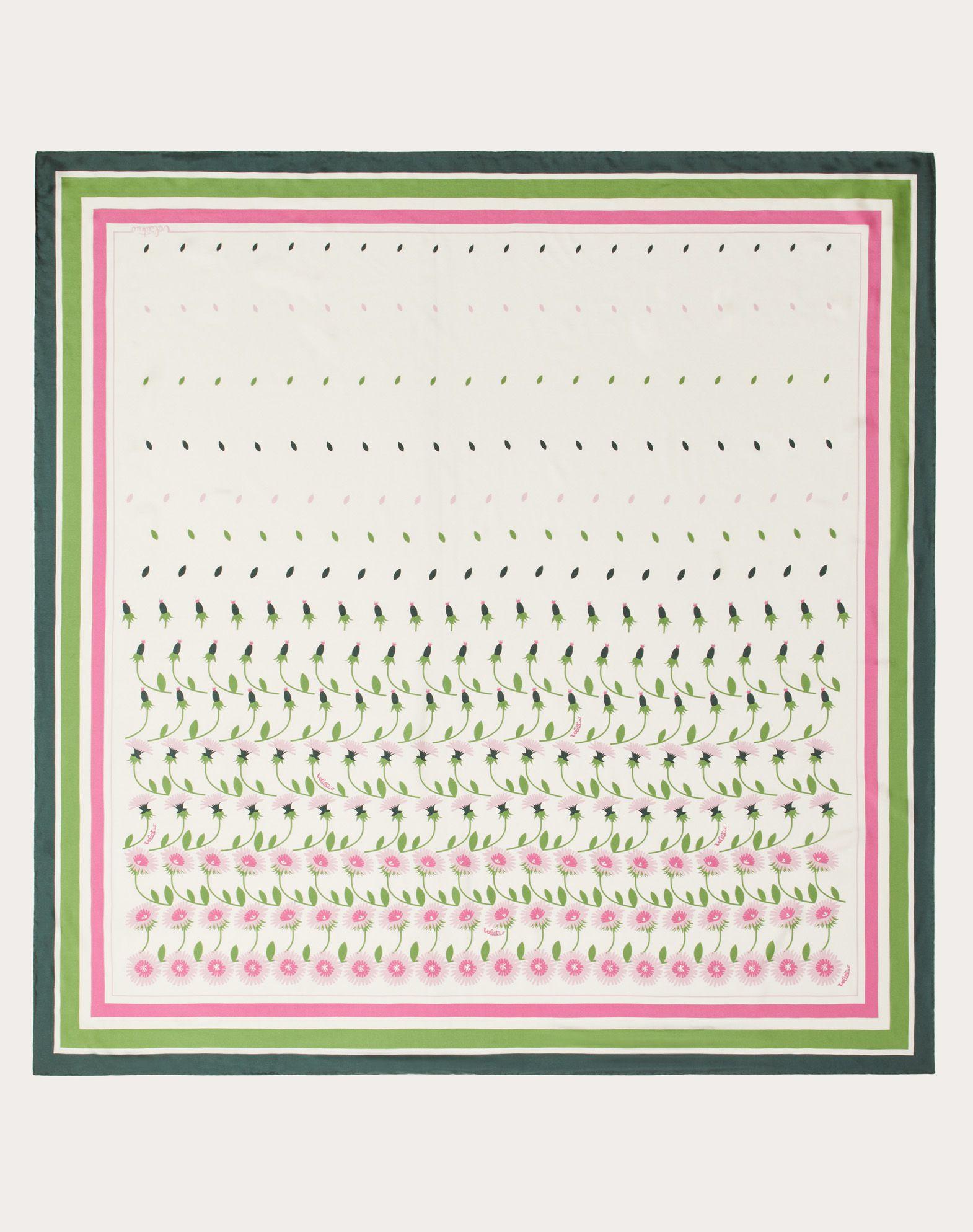 Flower print silk twill shawl 140x140 cm