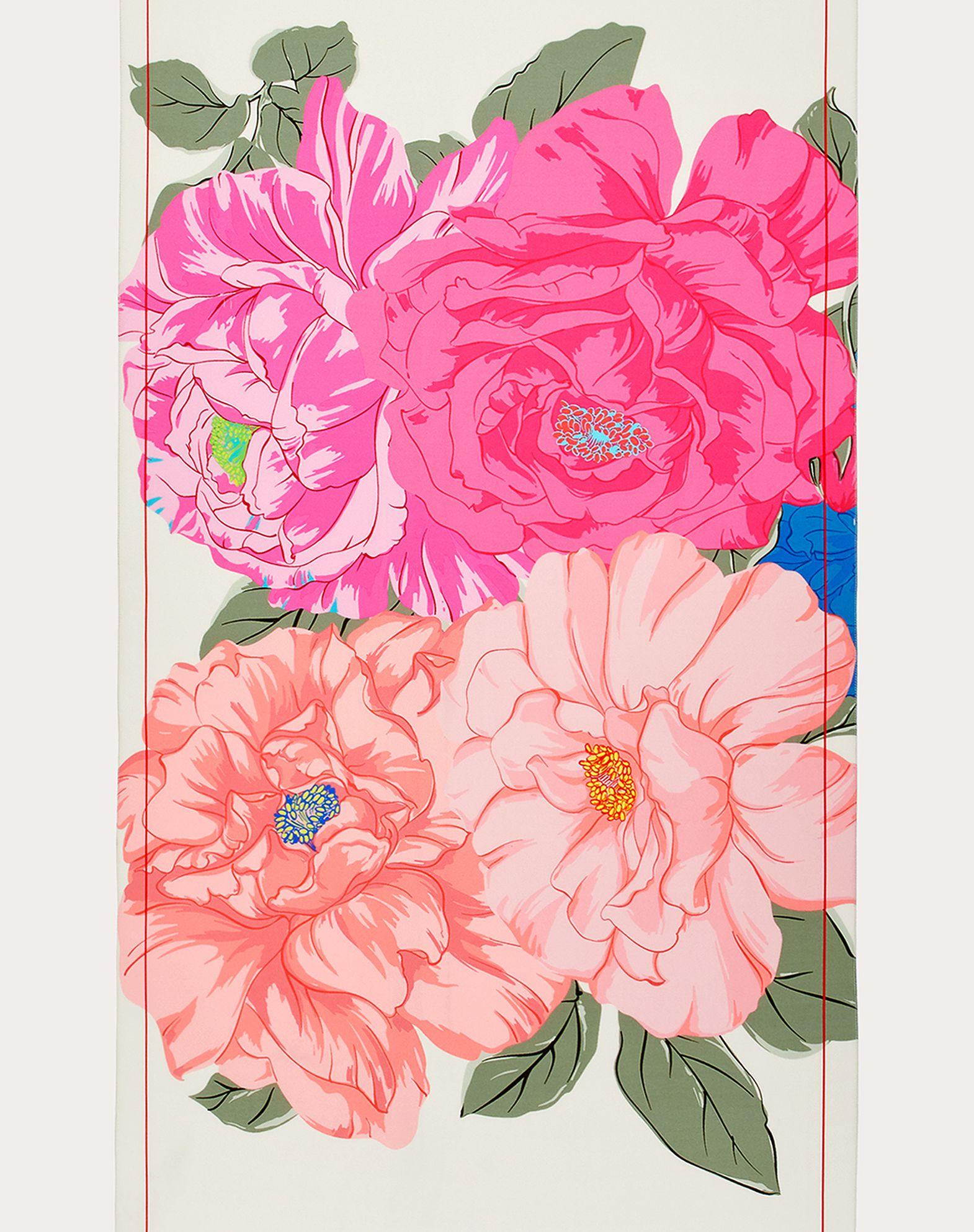 Étole en georgette de soie avec imprimé fleurs 65 x 250 cm
