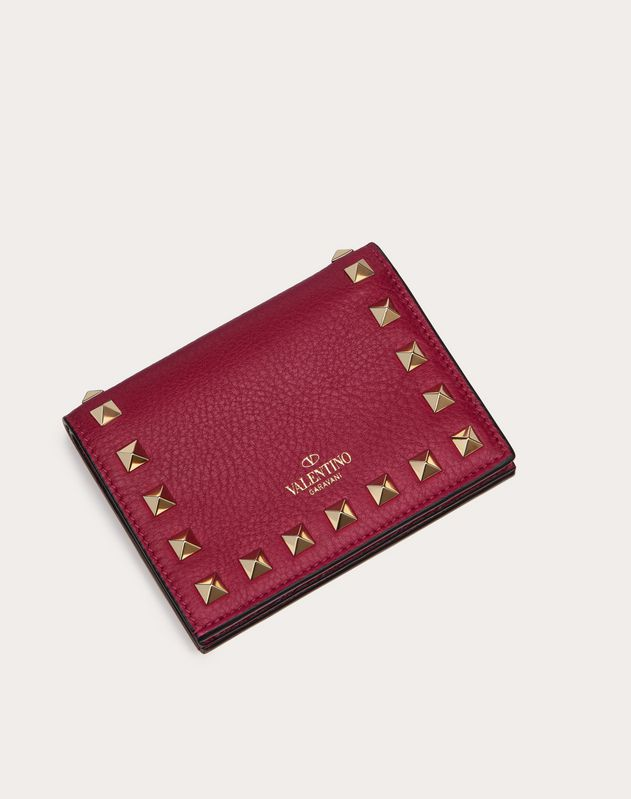 Small Rockstud Grainy Calfskin Wallet