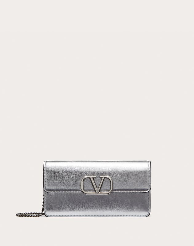 VSLING METALLIC CALFSKIN WALLET WITH CHAIN STRAP
